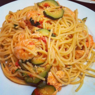 Spaghetti with prawns, salmon & courgettes