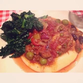 Chicken tomato veg stew served with Parmesan polenta