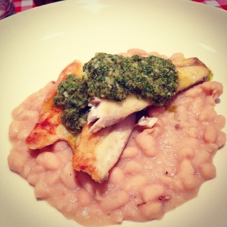 Pan fried Sea bass w/cannellini beans & salsa verde