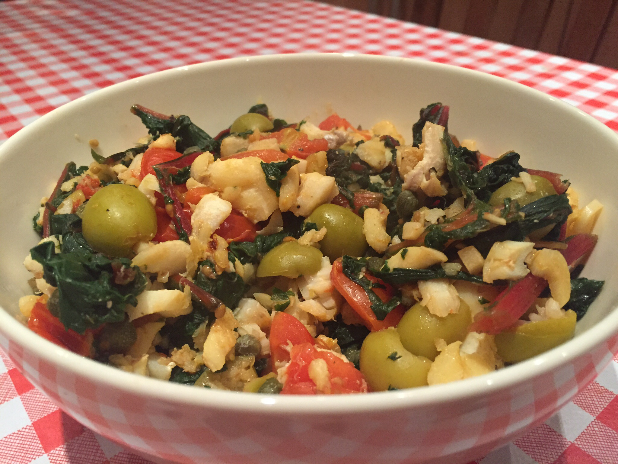Mediterranean fish with Swiss chard, olives & capers ...