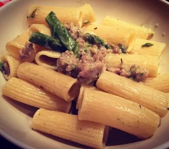 Asparagus & Sausage Rigatoni