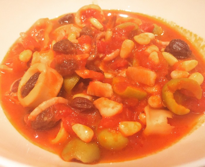 Squid tomato stew with olive, pine nuts & raisins