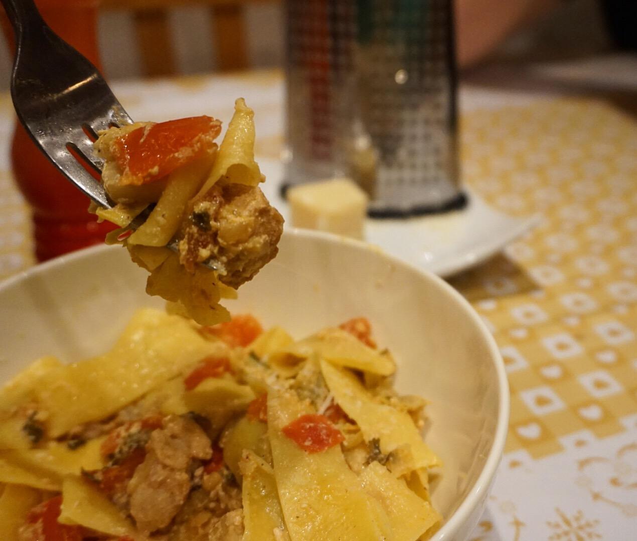 Artichokes and Pork Pasta