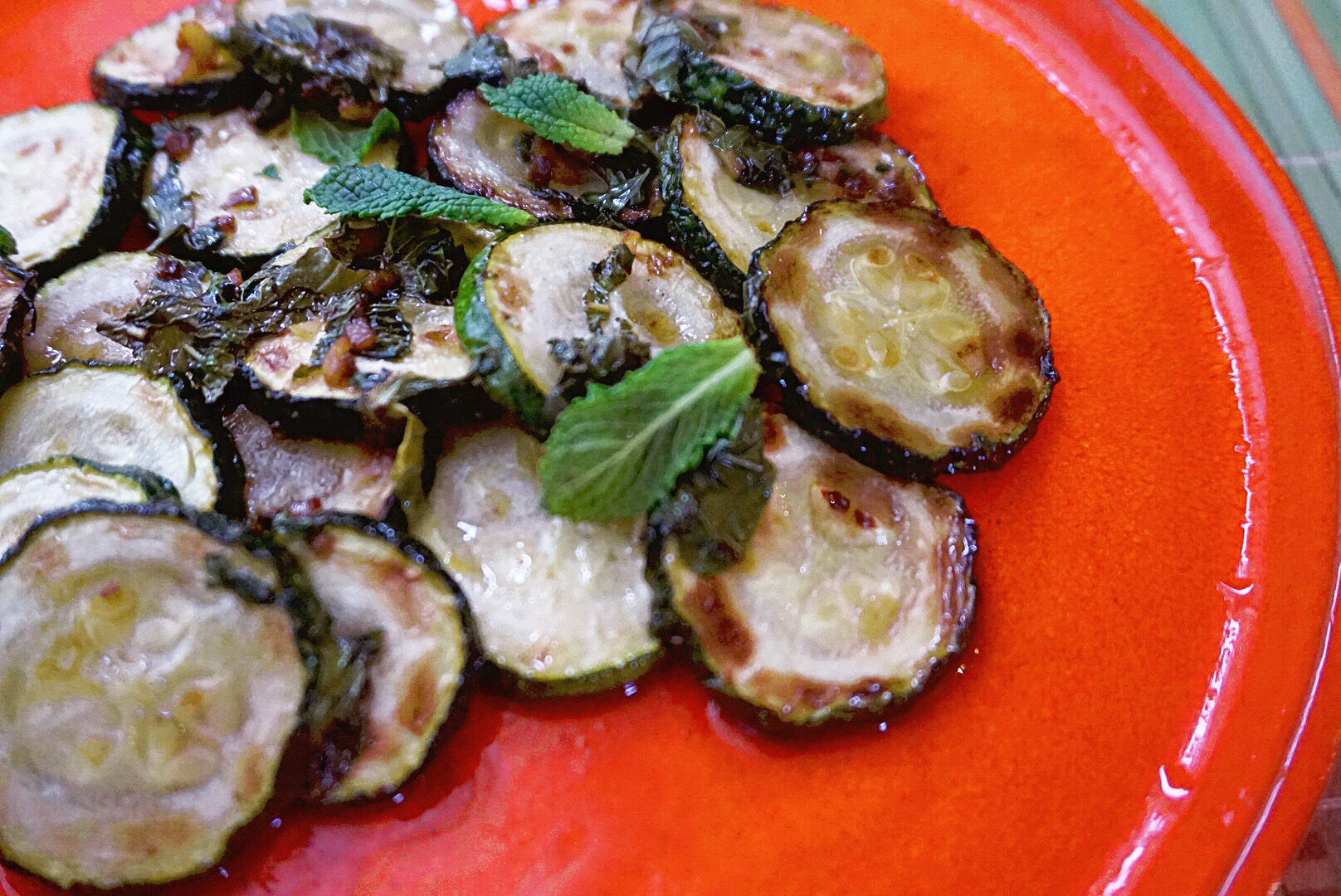 Marinated courgette