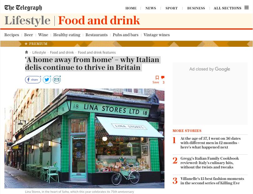 Press - Daily Telegraph - italian delis continue thrive britain