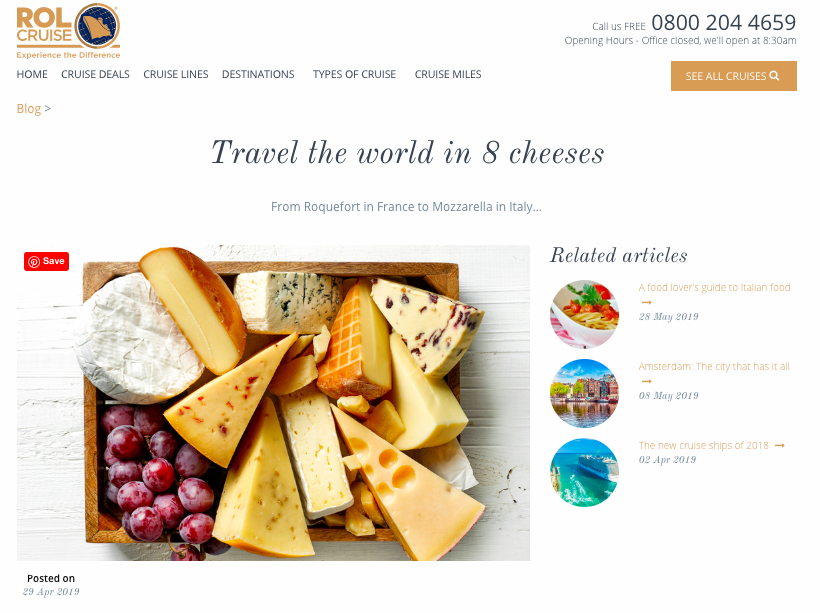 ROL CRUISE: Tiny Italian - Travel the world in 8 cheeses