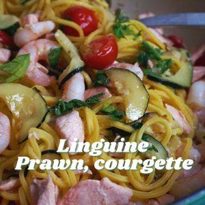 Linguine prawns, courgette pasta- Tiny Italian virtual Italian cook alongs this summer